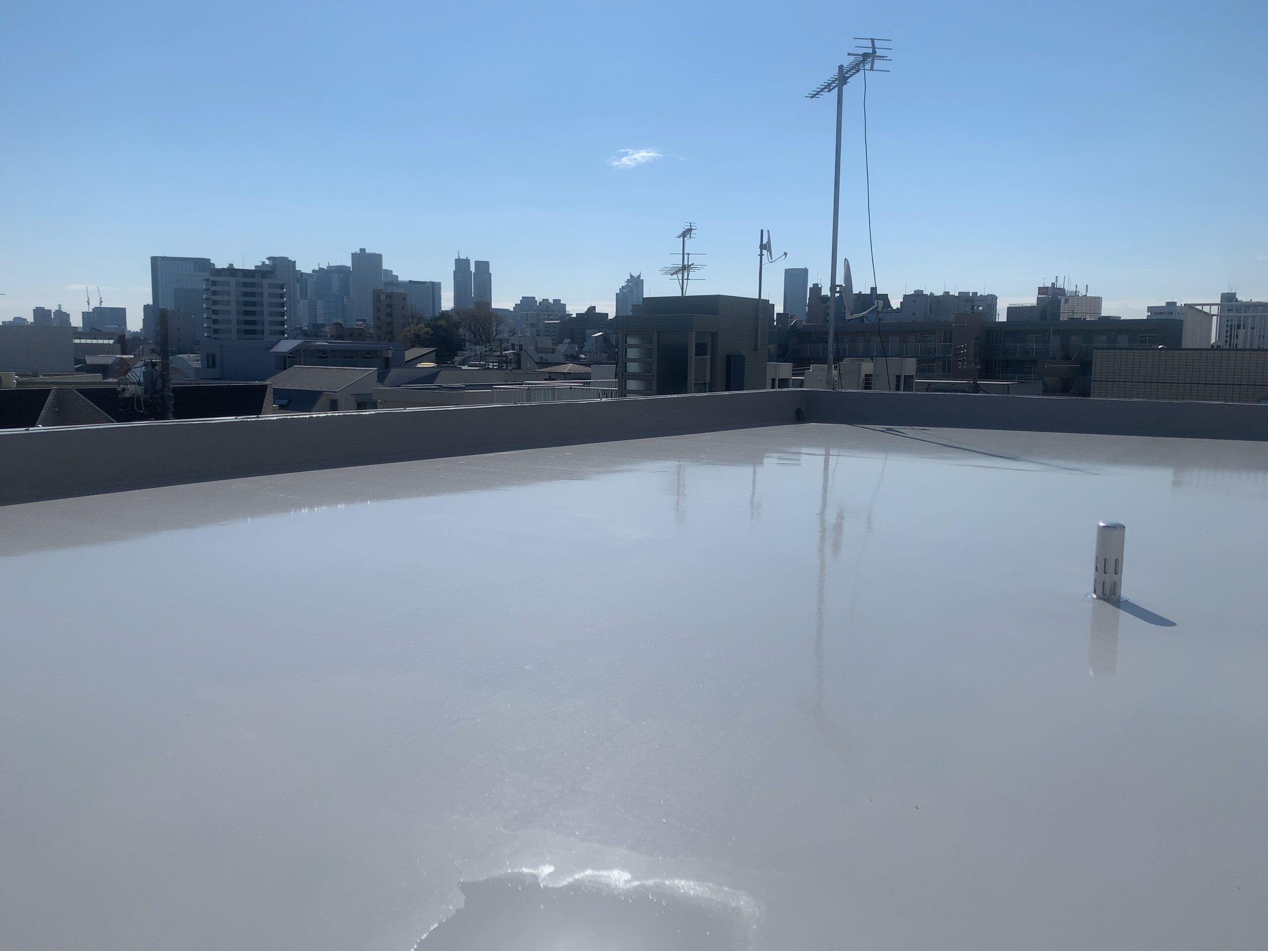 東京都中野区 ロープアクセス漏水工事.屋上防水工事完了検査