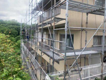 東京都調布市 仮設工事 外壁塗装 防水工事