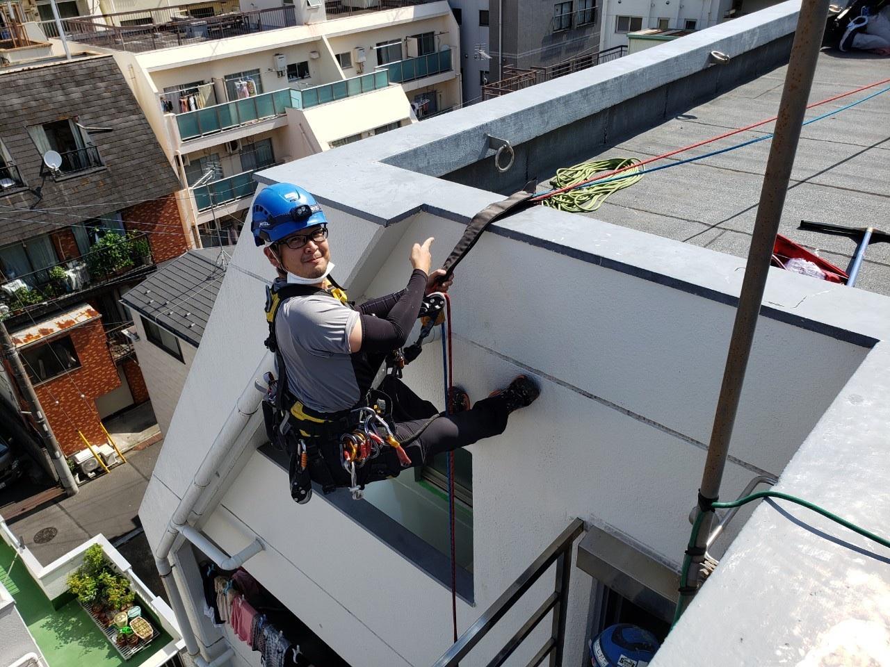 東京都墨田区Tマンション 無足場工法ロープアクセス ウレタン防水