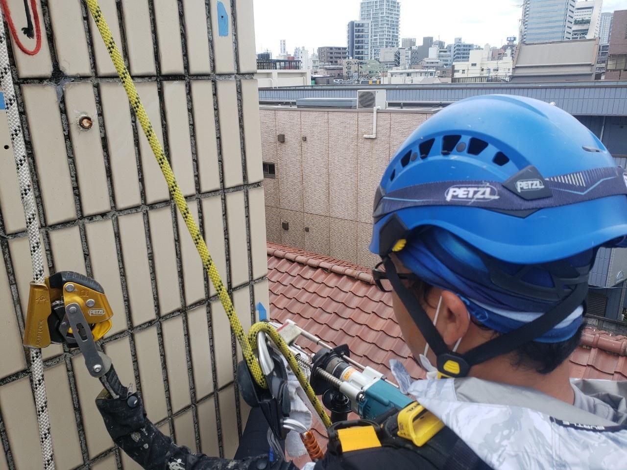 東京都中野区 無足場工法ロープアクセス タイル補修工事